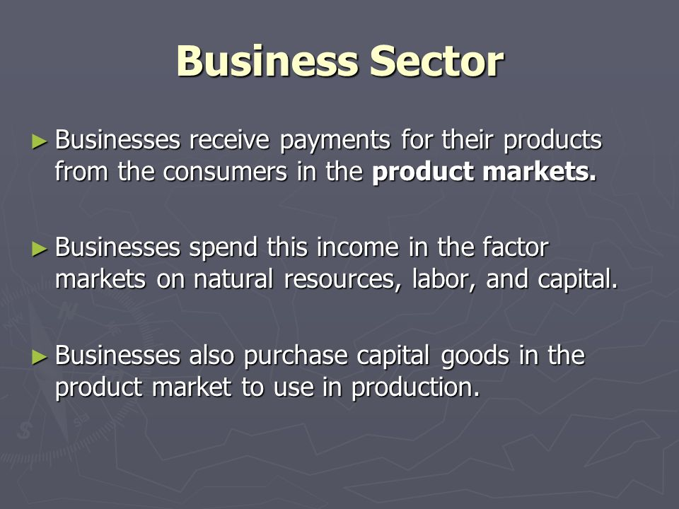 Business Sector ► Businesses receive payments for their products from the consumers in the product markets.
