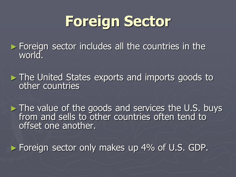 Foreign Sector ► Foreign sector includes all the countries in the world.