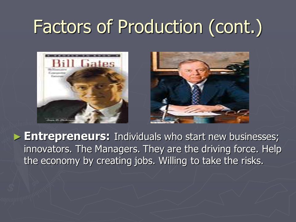 Factors of Production (cont.) ► Entrepreneurs: Individuals who start new businesses; innovators.