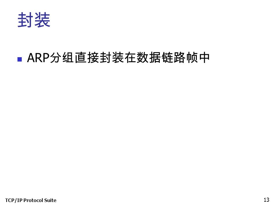 TCP/IP Protocol Suite 13 封装 ARP 分组直接封装在数据链路帧中