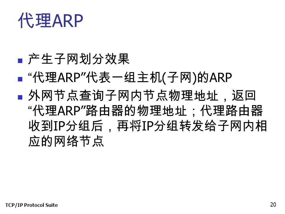 TCP/IP Protocol Suite 20 代理 ARP 产生子网划分效果 代理 ARP 代表一组主机 ( 子网 ) 的 ARP 外网节点查询子网内节点物理地址,返回 代理 ARP 路由器的物理地址;代理路由器 收到 IP 分组后,再将 IP 分组转发给子网内相 应的网络节点