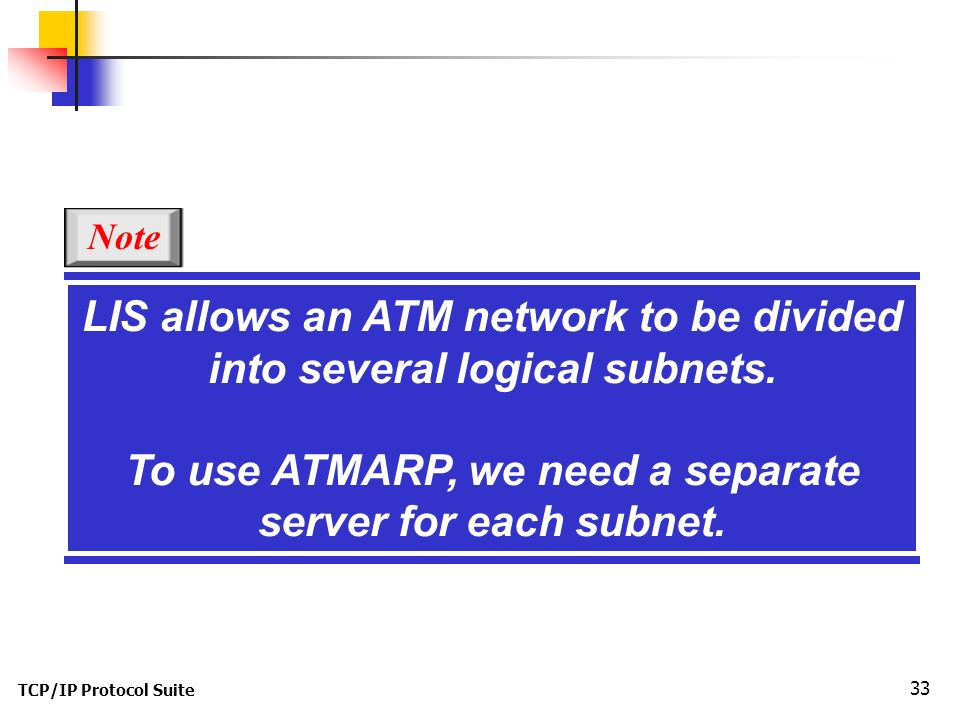 TCP/IP Protocol Suite 33 LIS allows an ATM network to be divided into several logical subnets.
