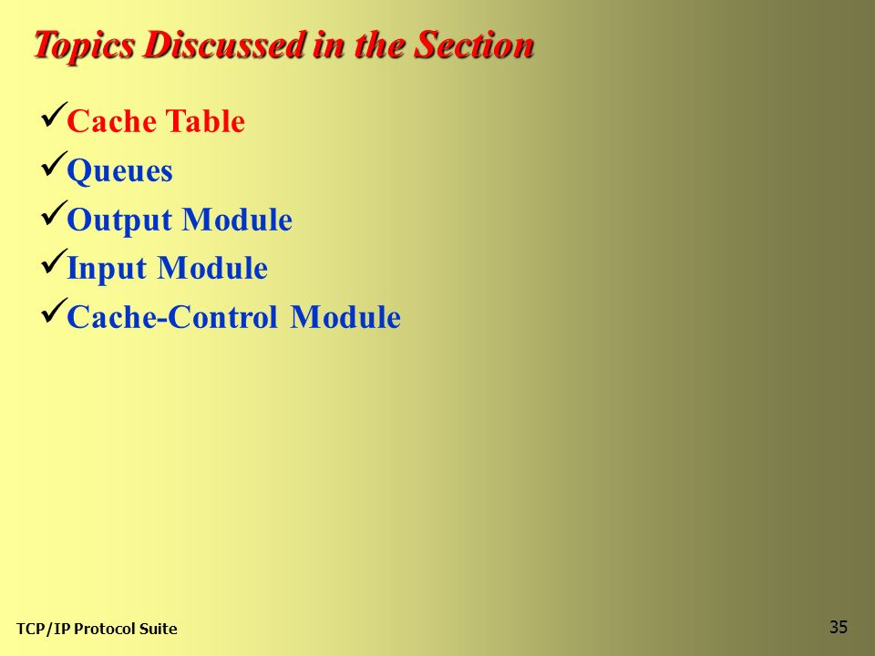 TCP/IP Protocol Suite 35 Topics Discussed in the Section Cache Table Queues Output Module Input Module Cache-Control Module