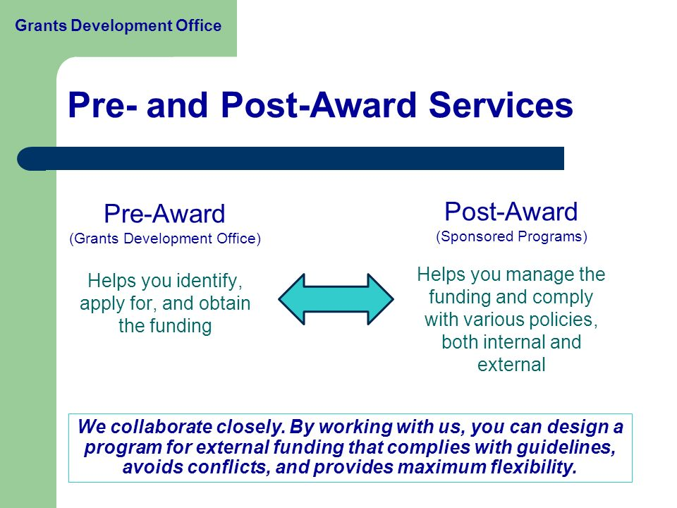 Pre- and Post-Award Services Pre-Award (Grants Development Office) Helps you identify, apply for, and obtain the funding Post-Award (Sponsored Programs) Helps you manage the funding and comply with various policies, both internal and external We collaborate closely.