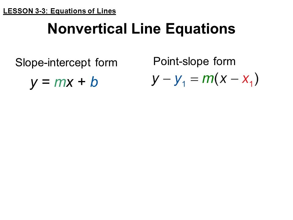 Targets Write An Equation Of A Line Given Information About The