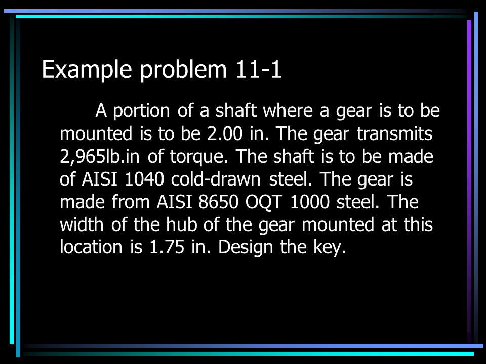 Example problem 11-1 A portion of a shaft where a gear is to be mounted is to be 2.00 in.