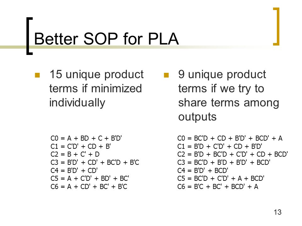 13 Better SOP for PLA 15 unique product terms if minimized individually 9 unique product terms if we try to share terms among outputs C0 = BC D + CD + B D + BCD + A C1 = B D + C D + CD + B D C2 = B D + BC D + C D + CD + BCD C3 = BC D + B D + B D + BCD C4 = B D + BCD C5 = BC D + C D + A + BCD C6 = B C + BC + BCD + A C0 = A + BD + C + B D C1 = C D + CD + B C2 = B + C + D C3 = B D + CD + BC D + B C C4 = B D + CD C5 = A + C D + BD + BC C6 = A + CD + BC + B C