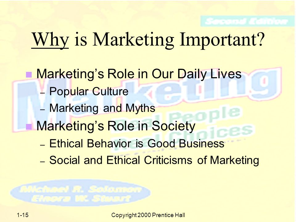 1-14Copyright 2000 Prentice Hall Why is Marketing Important.