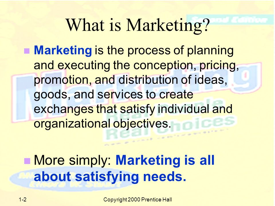 1-1Copyright 2000 Prentice Hall Chapter 1 Welcome to the World of Marketing