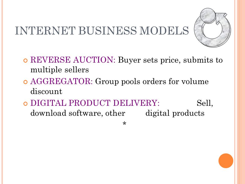 INTERNET BUSINESS MODELS INFORMATION BROKER: Provide info on products, pricing, etc.