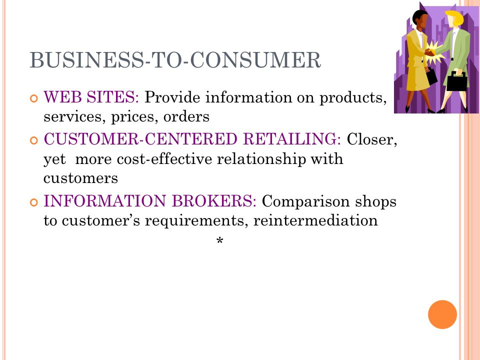 ELECTRONIC COMMERCE BUSINESS-TO-CONSUMER (B2C) BUSINESS-TO-BUSINESS (B2B) CONSUMER-TO-CONSUMER (C2C): Individuals use Web for private sales or exchange *