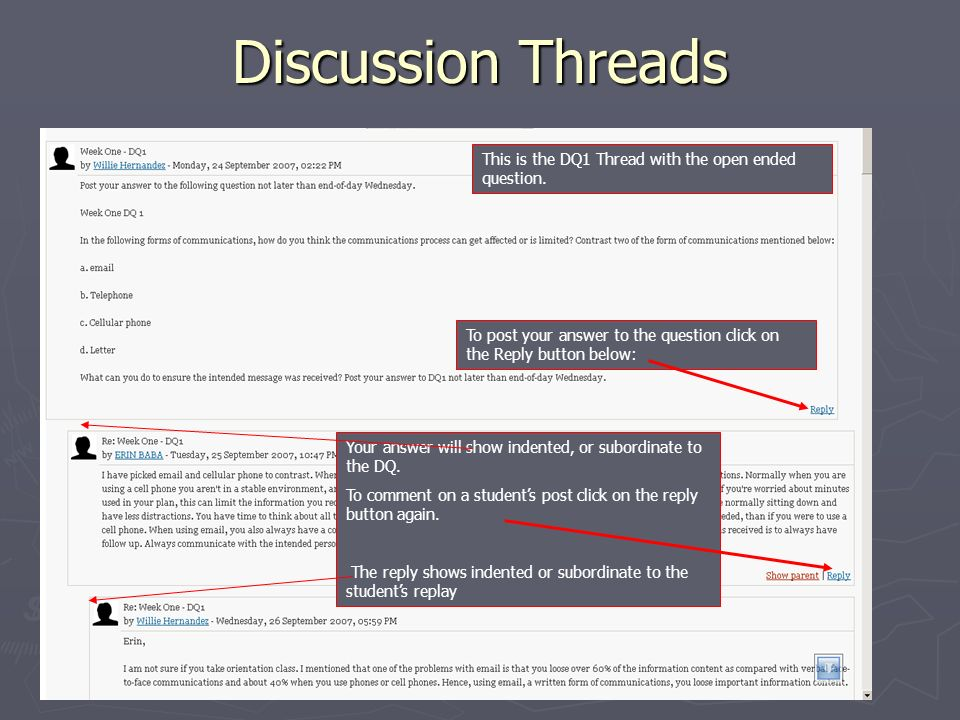 Discussion Threads This is the DQ1 Thread with the open ended question.
