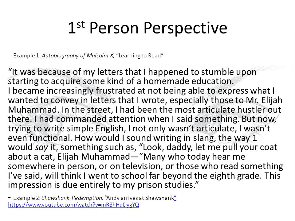 first person perspective essay