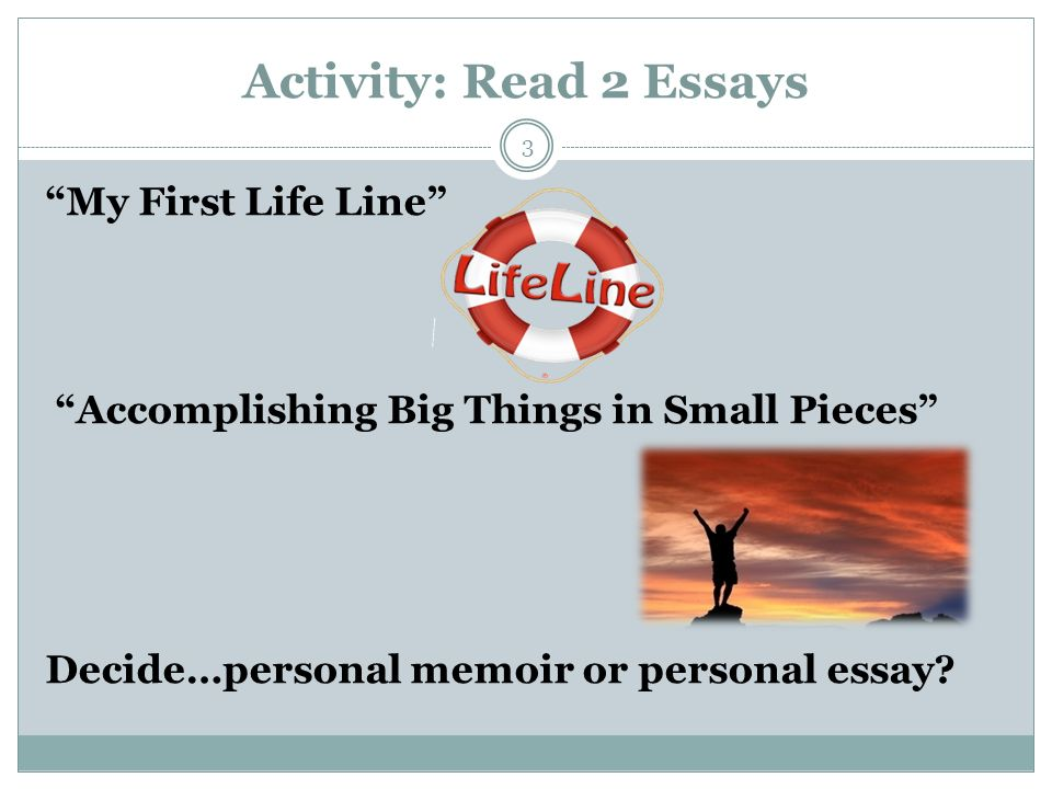 Suggestions what to include in personal essays and memoirs?