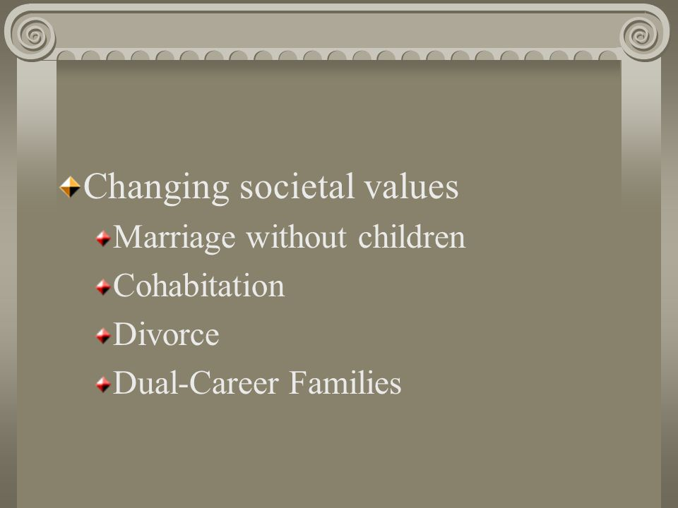 Changing societal values Marriage without children Cohabitation Divorce Dual-Career Families