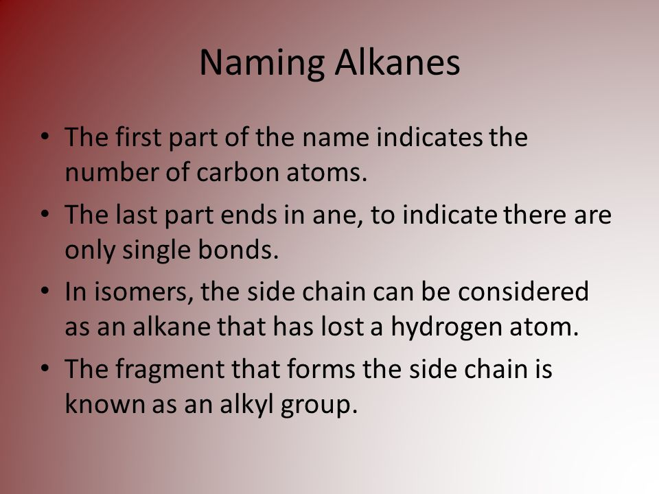Naming Alkanes The first part of the name indicates the number of carbon atoms.