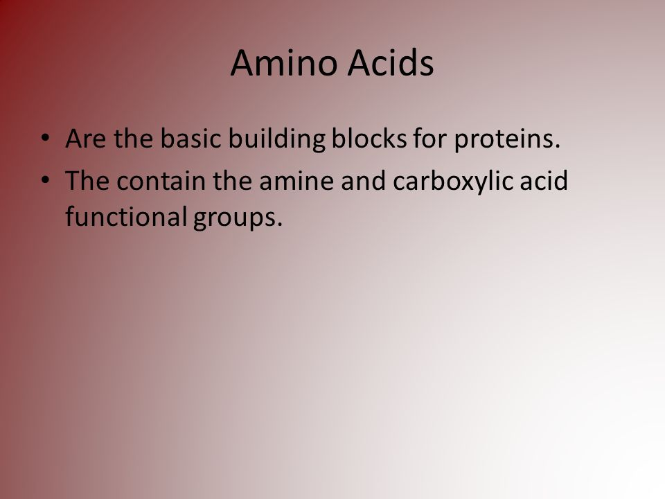 Amino Acids Are the basic building blocks for proteins.