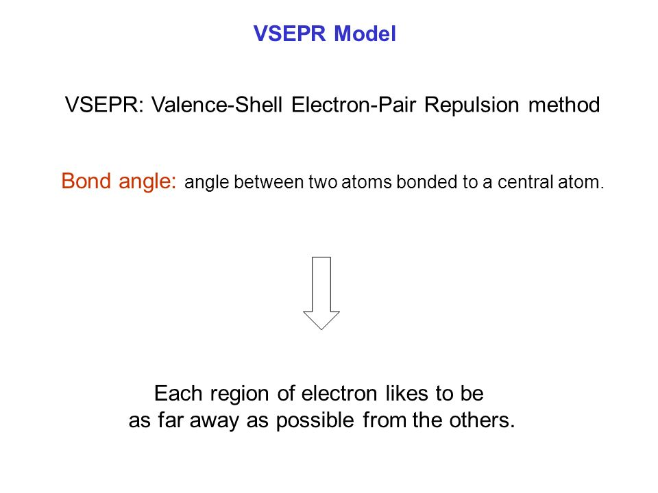 VSEPR Model VSEPR: Valence-Shell Electron-Pair Repulsion method Bond angle: angle between two atoms bonded to a central atom.