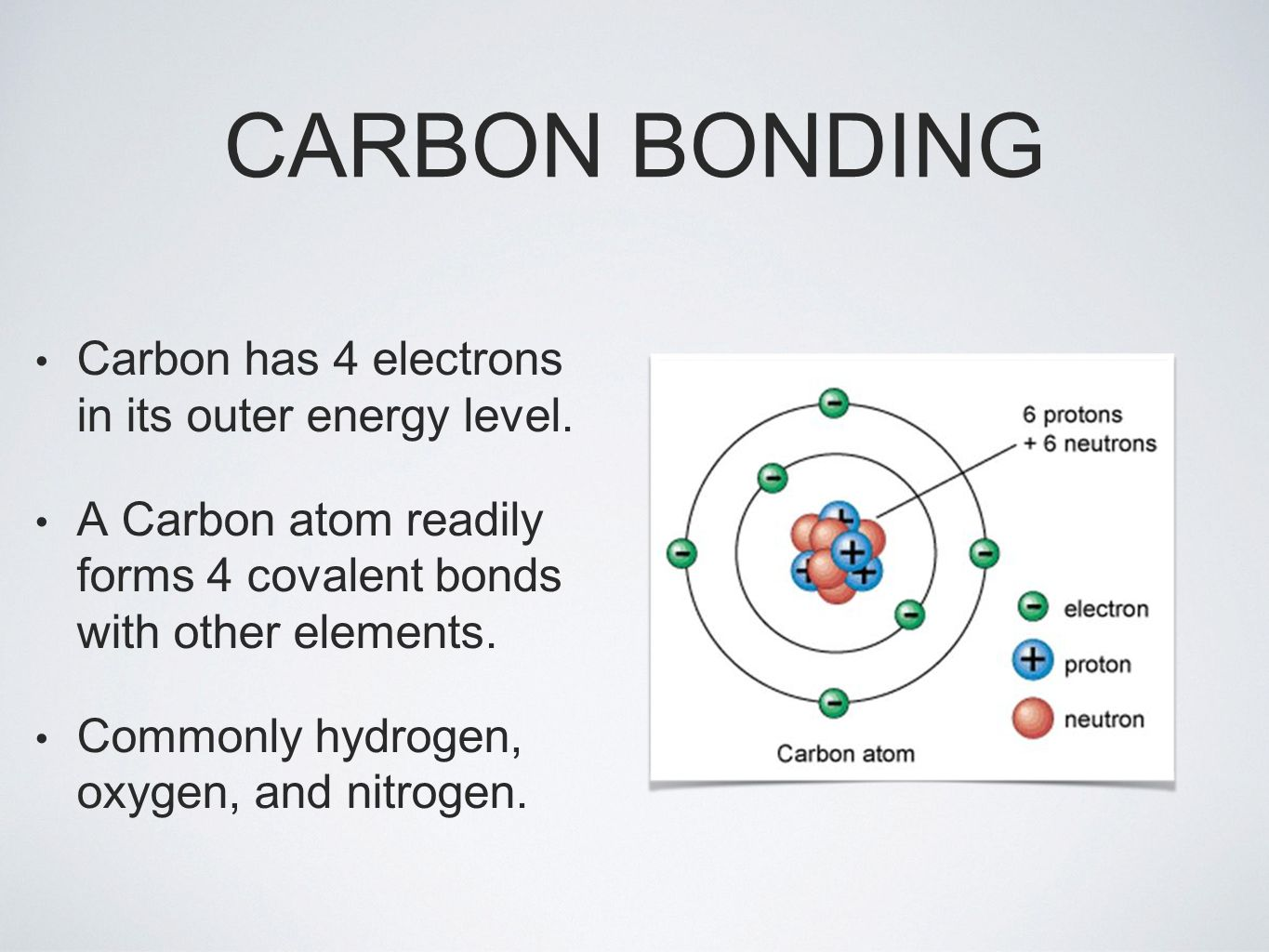 CARBON BONDING Carbon has 4 electrons in its outer energy level.