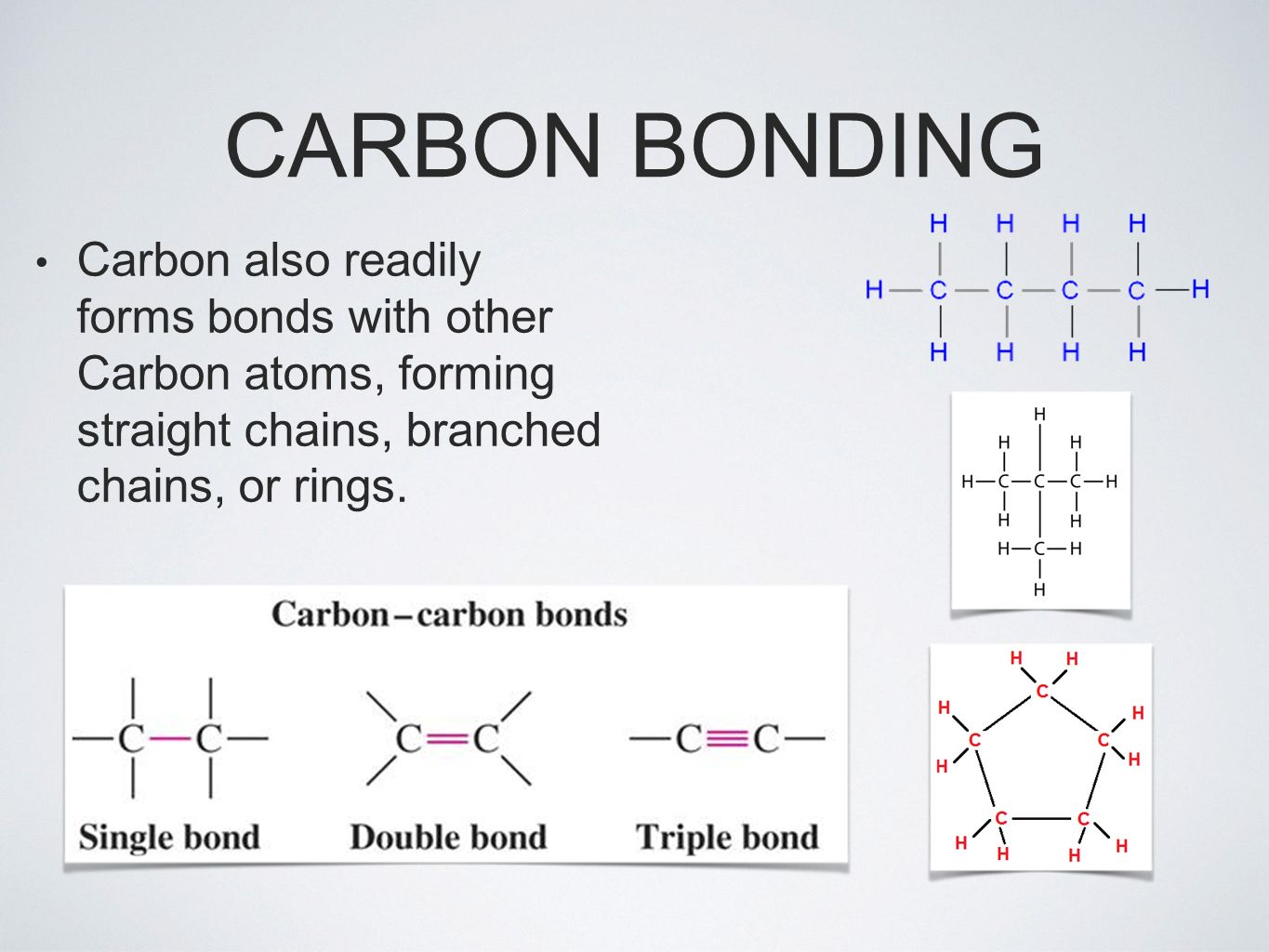 CARBON BONDING Carbon also readily forms bonds with other Carbon atoms, forming straight chains, branched chains, or rings.