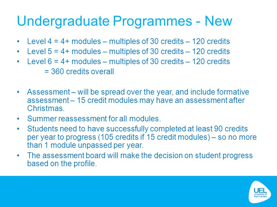 Undergraduate Programmes - New Level 4 = 4+ modules – multiples of 30 credits – 120 credits Level 5 = 4+ modules – multiples of 30 credits – 120 credits Level 6 = 4+ modules – multiples of 30 credits – 120 credits = 360 credits overall Assessment – will be spread over the year, and include formative assessment – 15 credit modules may have an assessment after Christmas.