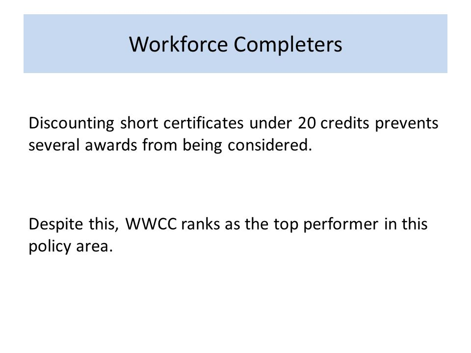 Workforce Completers Discounting short certificates under 20 credits prevents several awards from being considered.
