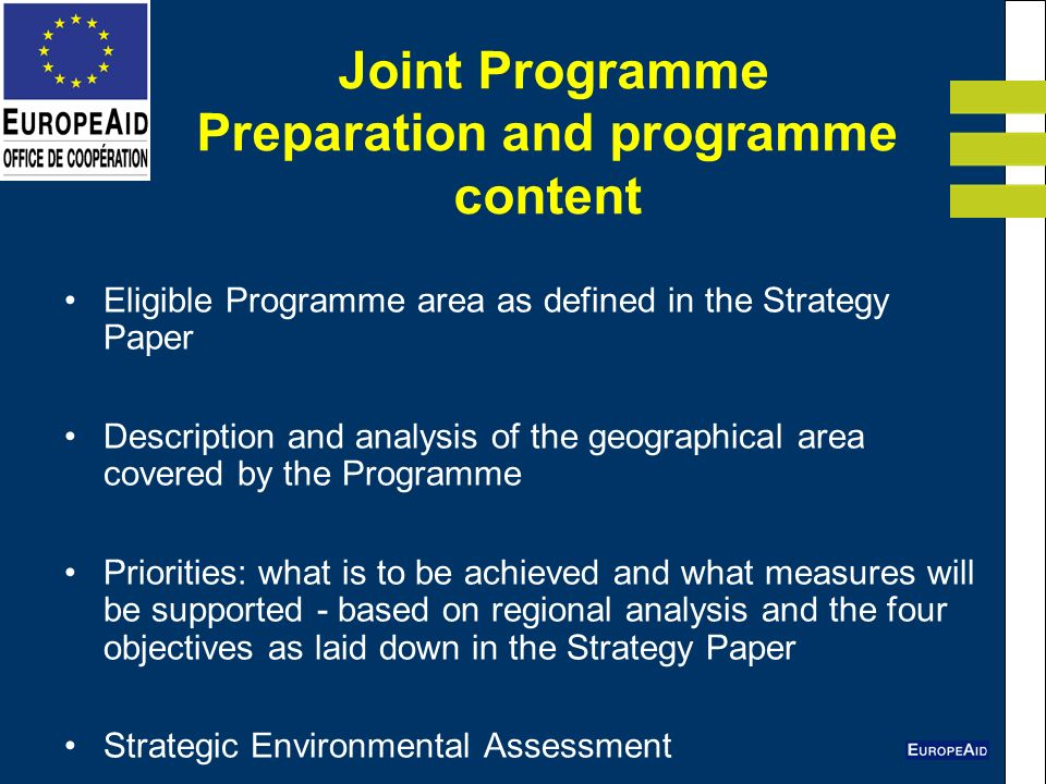 Joint Programme Preparation and programme content Eligible Programme area as defined in the Strategy Paper Description and analysis of the geographical area covered by the Programme Priorities: what is to be achieved and what measures will be supported - based on regional analysis and the four objectives as laid down in the Strategy Paper Strategic Environmental Assessment