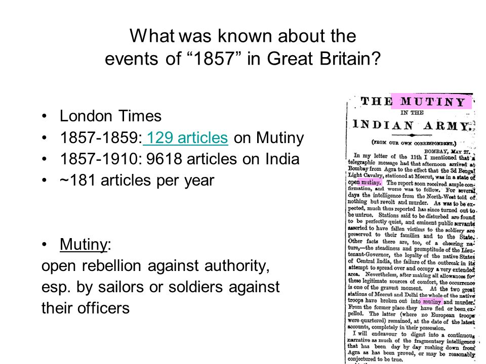 What was known about the events of 1857 in Great Britain.