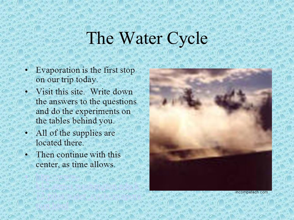The Water Cycle Evaporation Is First Stop On Our Trip Today