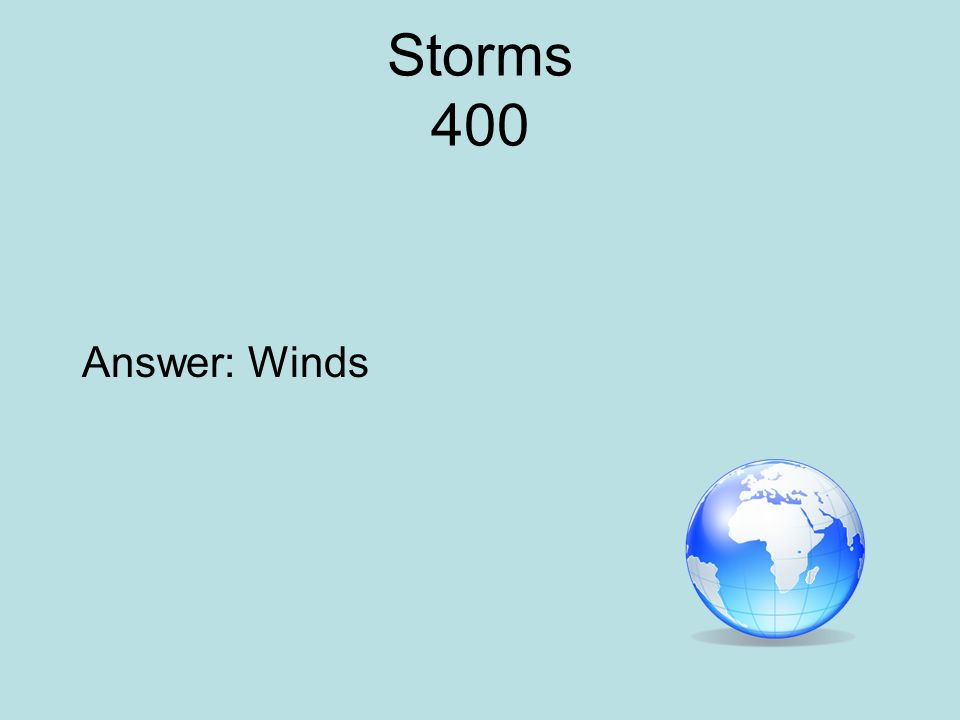 Storms 400 Answer: Winds