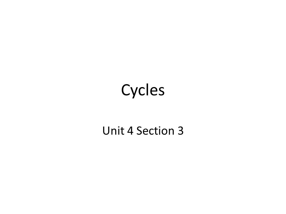 Cycles Unit 4 Section 3