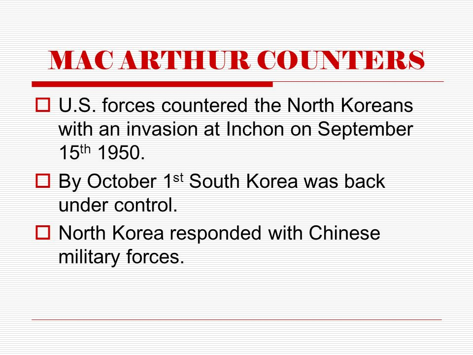 MAC ARTHUR COUNTERS  U.S.