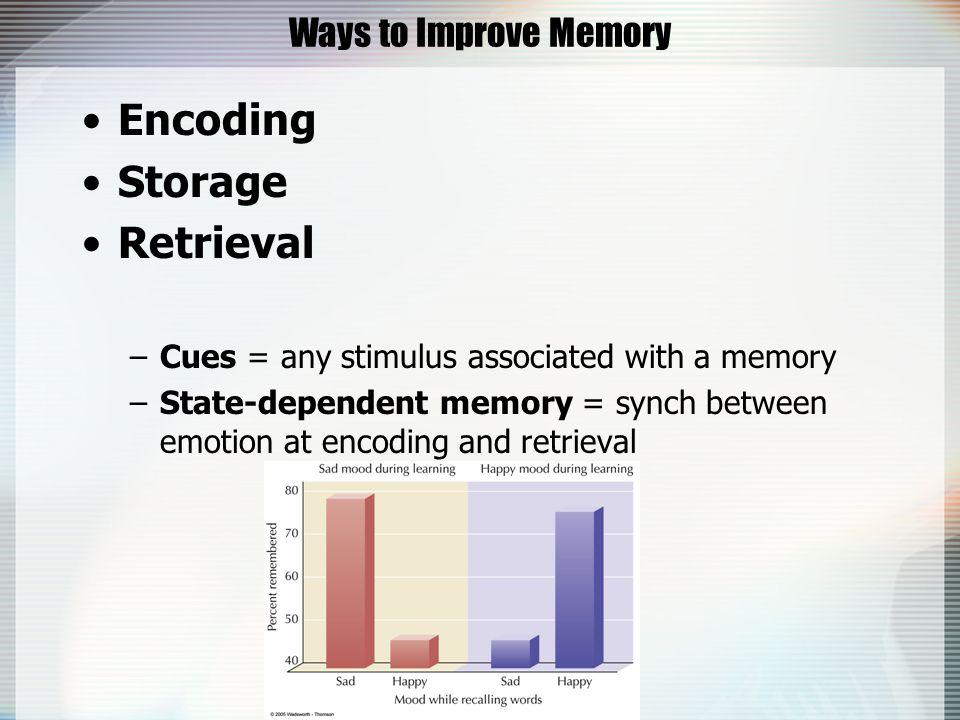 Memory part2. Why Do We Forget? Encoding failure Storage failure ...