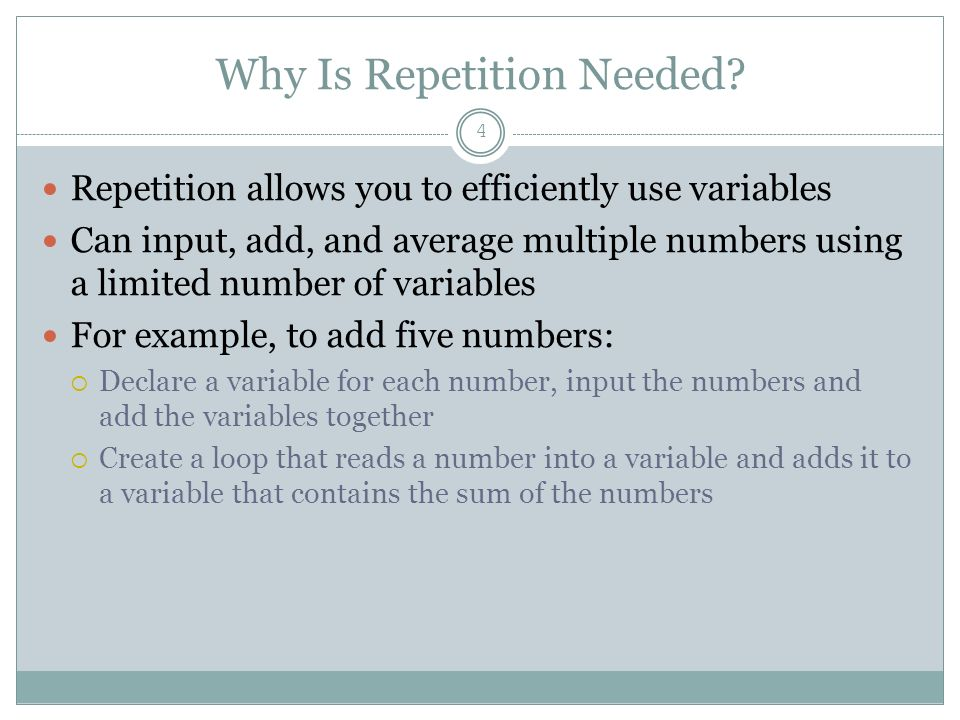 Why Is Repetition Needed.