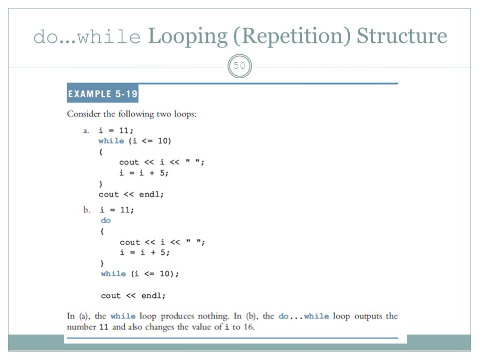 do … while Looping (Repetition) Structure 50