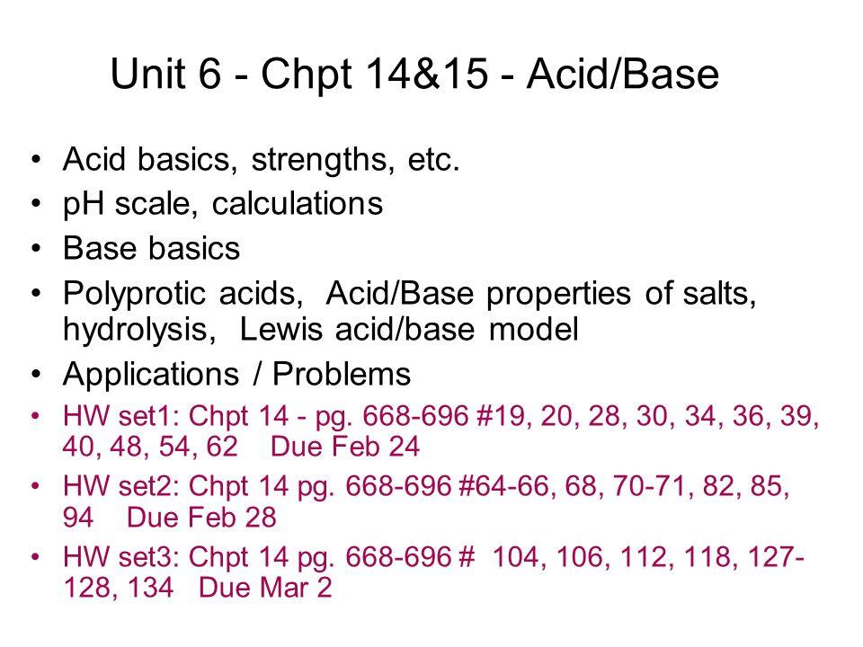 Unit 6 Chpt 1415 Acidbase Acid Basics Strengths Etc Ph
