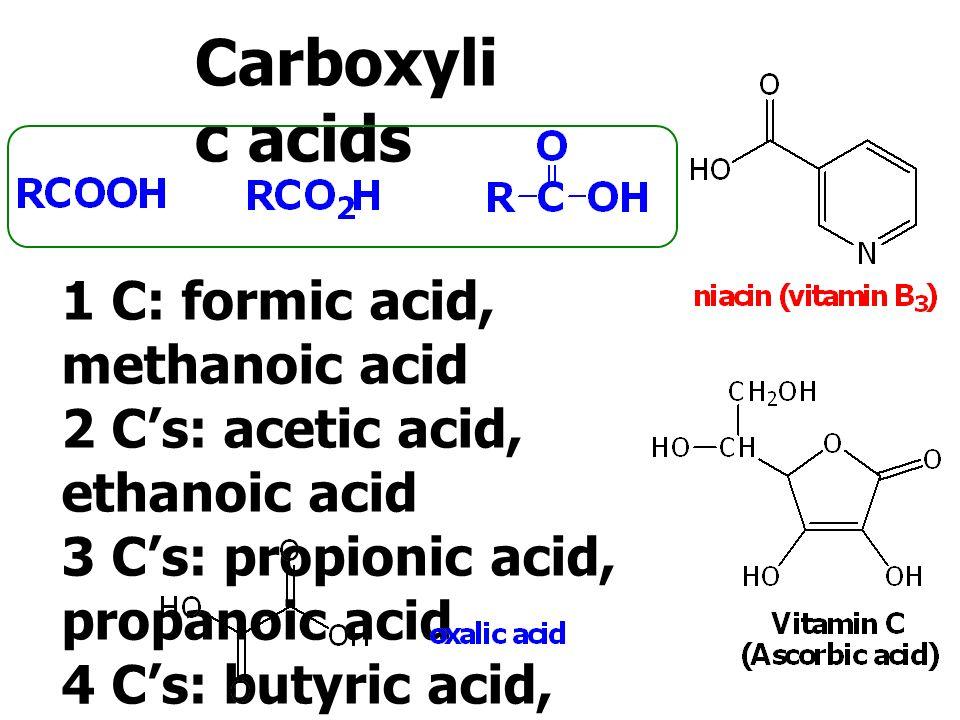 1 C Formic Acid Methanoic Acid 2 Cs Acetic Acid Ethanoic Acid 3