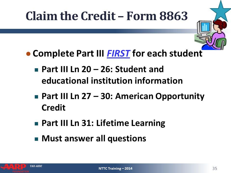 2014 Form 8863 Helpemberalert