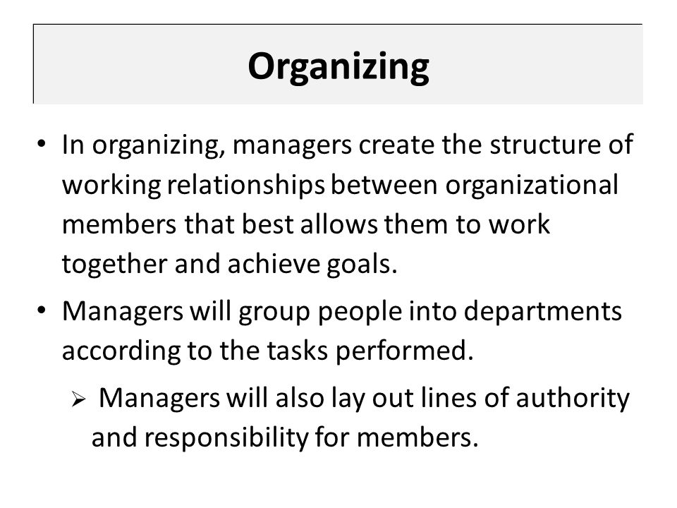 Organizing In organizing, managers create the structure of working relationships between organizational members that best allows them to work together