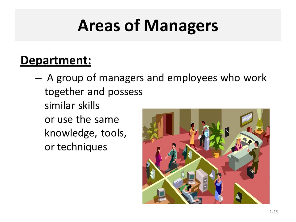1-19 Areas of Managers Department: – A group of managers and employees who work together and possess similar skills or use the same knowledge, tools,
