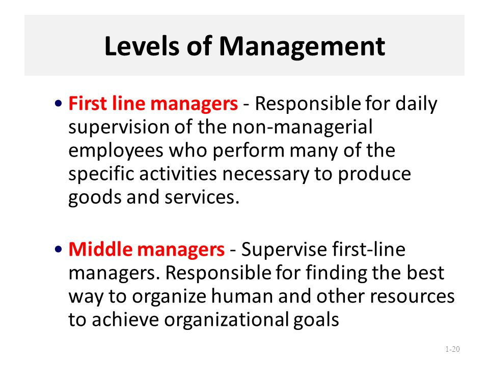 1-20 Levels of Management First line managers - Responsible for daily supervision of the non-managerial employees who perform many of the specific act