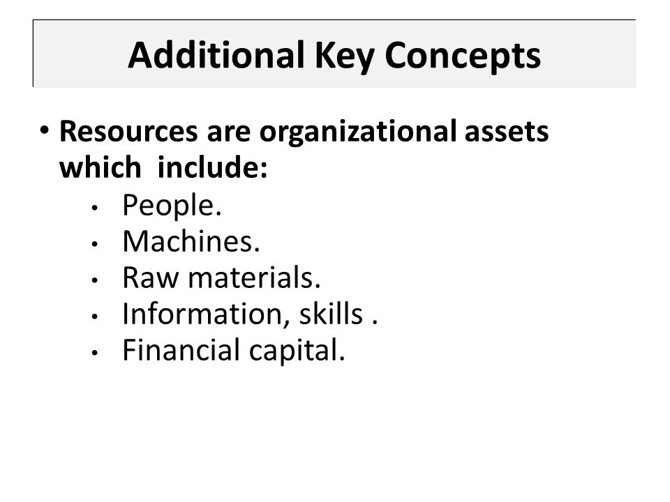 Additional Key Concepts Resources are organizational assets which include: People. Machines. Raw materials. Information, skills. Financial capital.