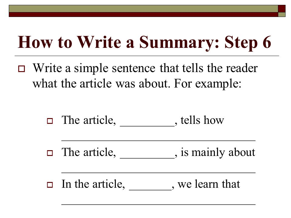 How to do a summary of an article