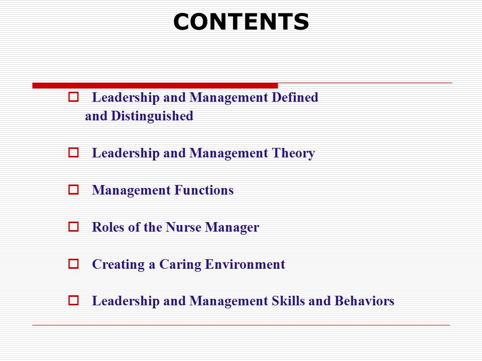 CONTENTS  Leadership and Management Defined and Distinguished  Leadership and Management Theory  Management Functions  Roles of the Nurse Manager