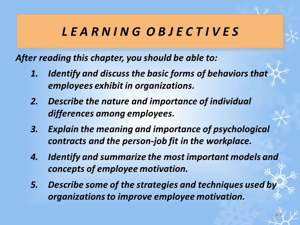 After reading this chapter, you should be able to: 1.Identify and discuss the basic forms of behaviors that employees exhibit in organizations.