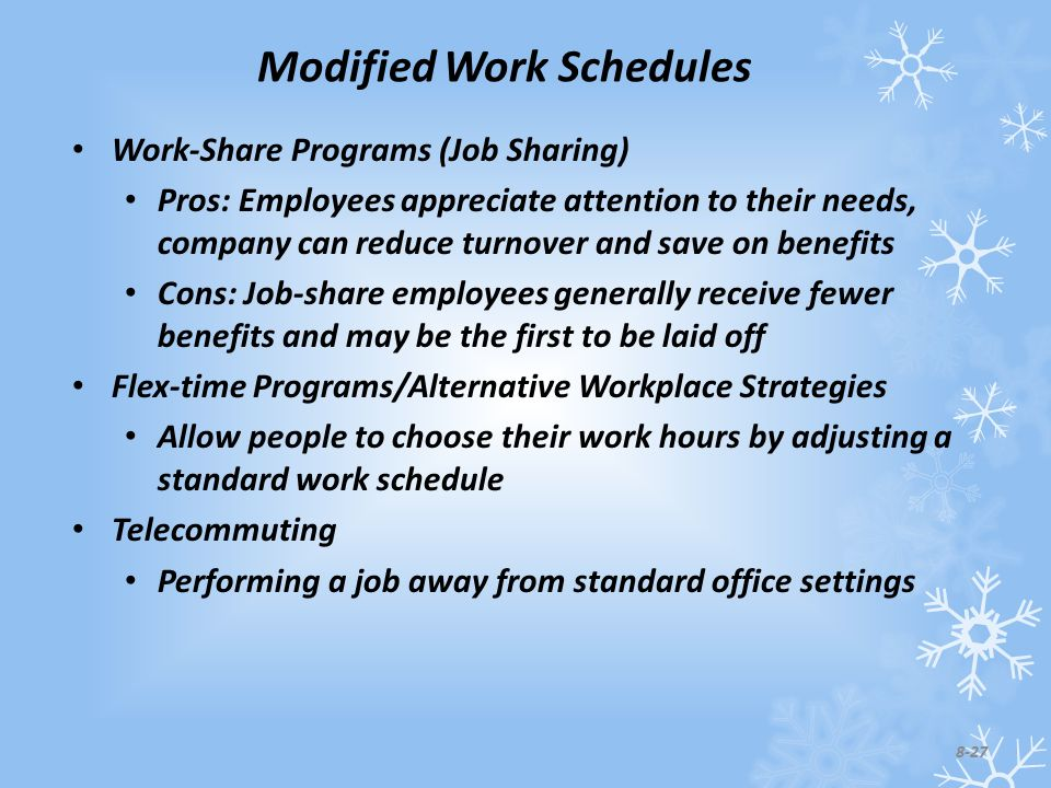 Modified Work Schedules Work-Share Programs (Job Sharing) Pros: Employees appreciate attention to their needs, company can reduce turnover and save on benefits Cons: Job-share employees generally receive fewer benefits and may be the first to be laid off Flex-time Programs/Alternative Workplace Strategies Allow people to choose their work hours by adjusting a standard work schedule Telecommuting Performing a job away from standard office settings 8-27