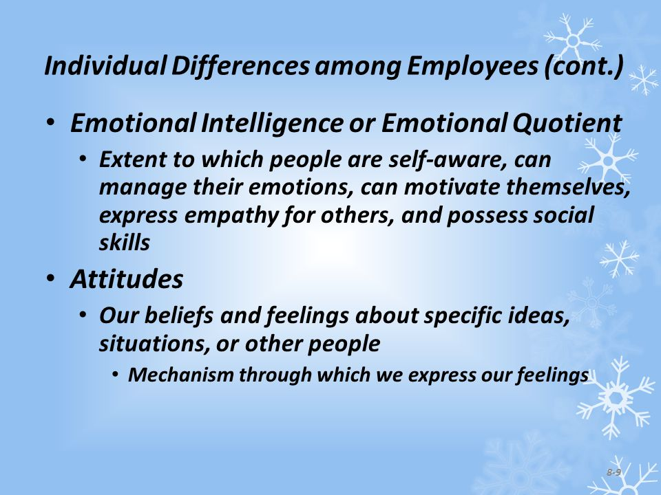 Individual Differences among Employees (cont.) Emotional Intelligence or Emotional Quotient Extent to which people are self-aware, can manage their emotions, can motivate themselves, express empathy for others, and possess social skills Attitudes Our beliefs and feelings about specific ideas, situations, or other people Mechanism through which we express our feelings 8-9