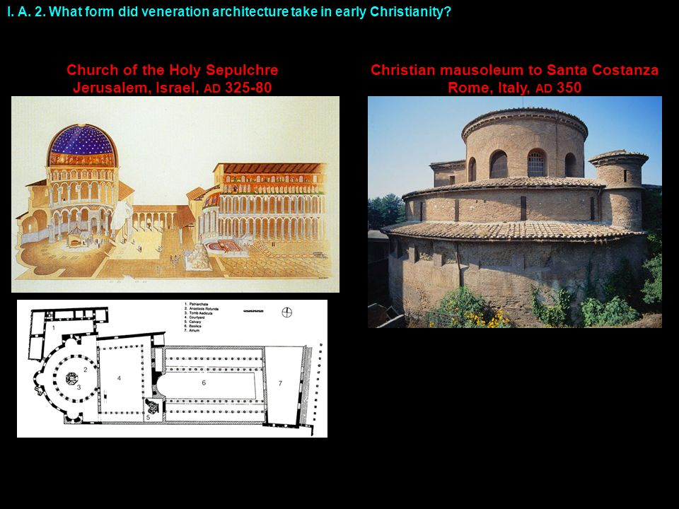 I. A. 2. What form did veneration architecture take in early Christianity.