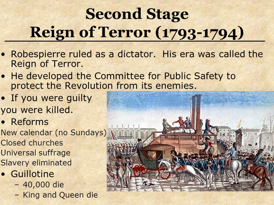 Second Stage Reign of Terror ( ) Robespierre ruled as a dictator.