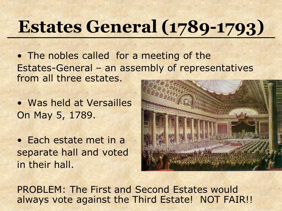 Estates General ( ) The nobles called for a meeting of the Estates-General – an assembly of representatives from all three estates.